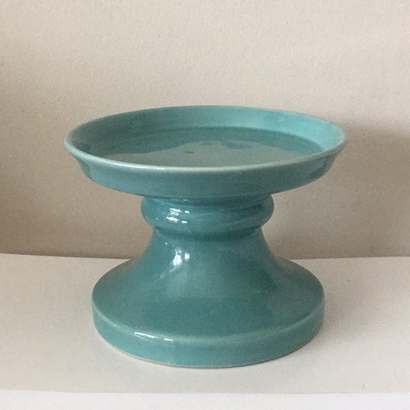 SOLD **Teal ceramic candle stand